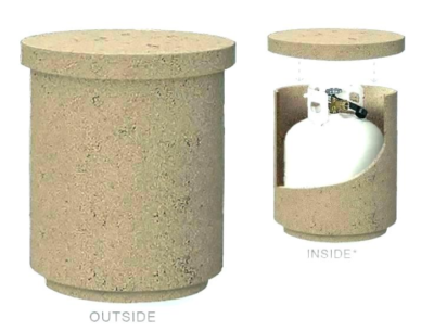 A Decorative propane tank cover should have leveling feet, hose gaps and an easily removable lid.