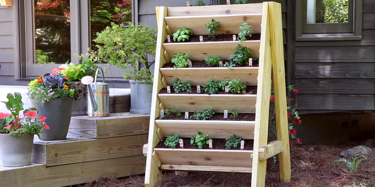A vertical planter is a great way to save space and add some greenery to your patio