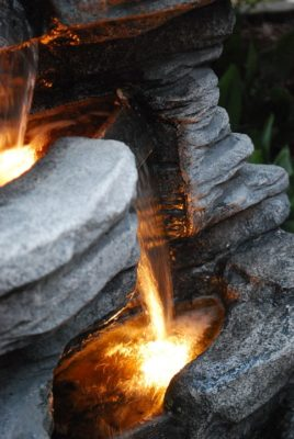 Cast resin is a great weather resistant material for outdoor waterfall fountains